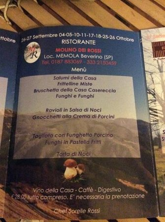 Beverino, Italien: questo è il menù!!!!