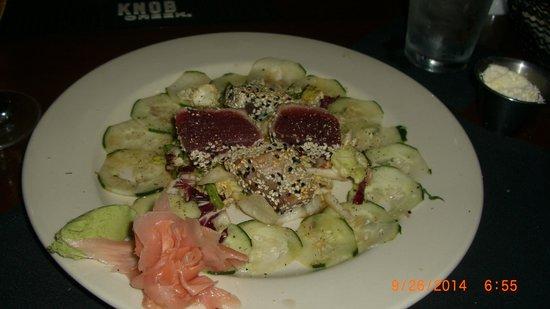 Ken & Sue's: Sesame Crusted Seared Tuna on a Bed of Cucumbers