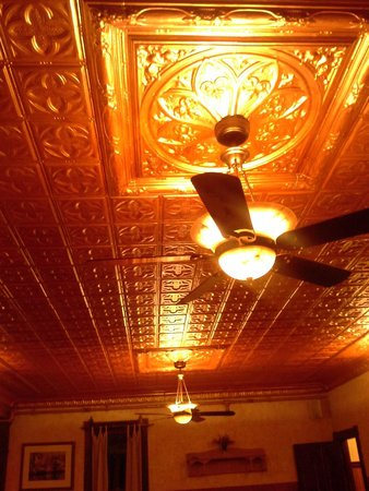 The Woods Inn: The restored ceiling in the dining room.