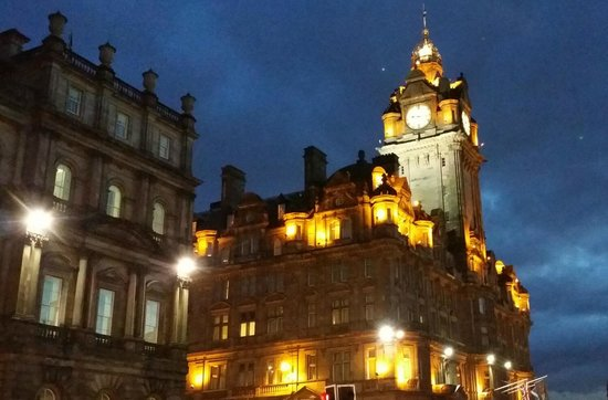 The Balmoral Hotel: Dusk from a couple of blocks away