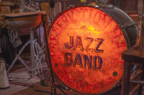 Preservation Hall: Drum set in hall