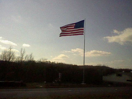 Hancock, MD : The Beautiful Flag Outside The Blue Goose Fruit Market And Bakery.