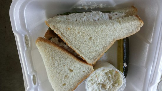 Mystic Diner and Restaurant : Chicken Salad Sandwich - on white bread with coleslaw and a pickle spear.
