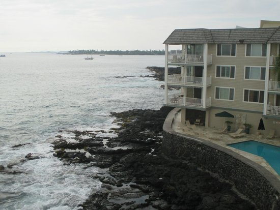 Hale Kona Kai Condominiums: View looking north from lanai of 402 (portion of pool visible)