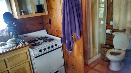 Cottonwood Hot Springs Inn & Health Spa : tiny kitchen and bathroom
