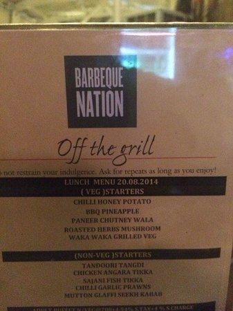 Barbeque Nation: Menu