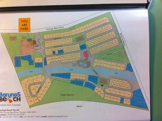 Barlings Beach Holiday Park : Park map - website lists specific cabins for hire
