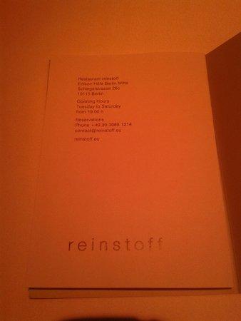 Restaurant Reinstoff: Menu