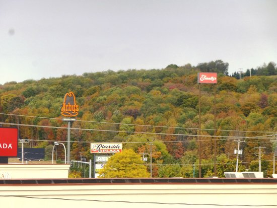 Hampton Inn Cortland: View from the parking-lot side of building.