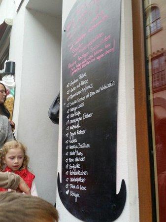 Der Verruckte Eismacher : Speisekarte heute. Genial lecker