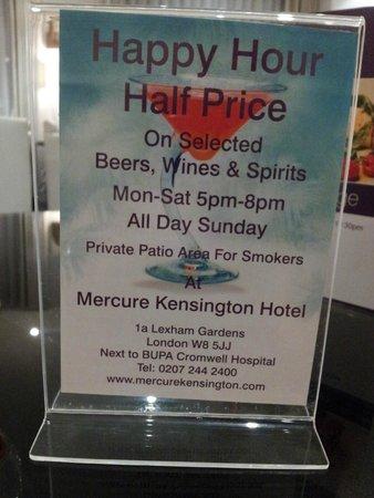 Mercure London Kensington: Alle dagen happy hour.
