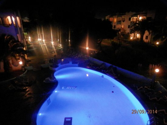 Europa: colour changing pool at night