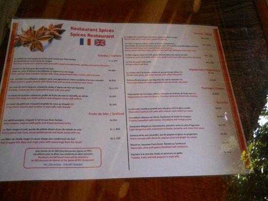 Sands Suites Resort & Spa: Spices restaurant menu