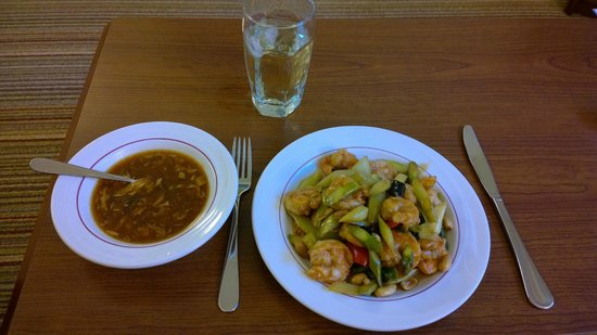 Peter Chang's China Grill: Hot sour soup, fried rice and Shrimp
