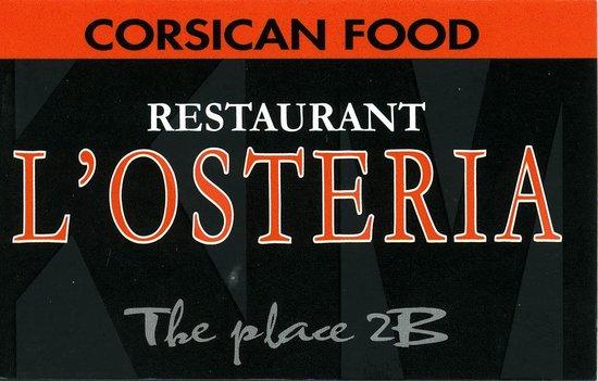 L'osteria : carte du restaurant