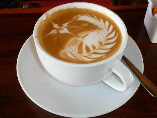 Just one of the beautiful Cappuccinos that have been expertly prepared here at the Barrio Cafe.