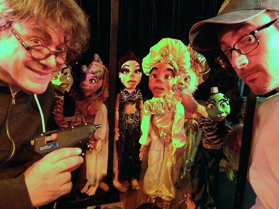 Lancaster Marionette Theatre : Putting final touches on Aladdin marionettes.