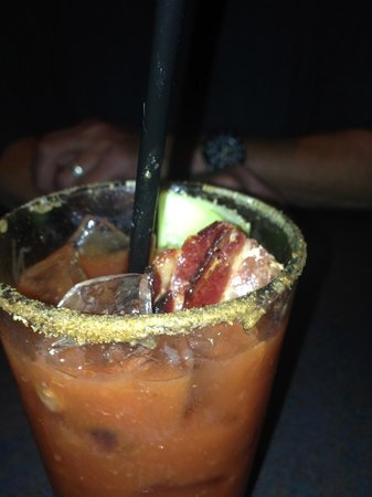 Boatyard Pizzeria & Grill: to die for…bacon bloody mary with absolute pepper