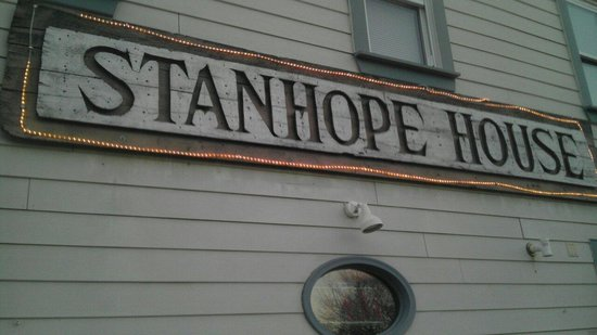 Stanhope House : Sign on the side.