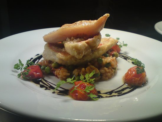 The Cross Keys Inn: Red mullet fillets with mediterranean risotto