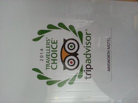 Ainsworth Motel: Trip Advisor 2014 travellers choice award