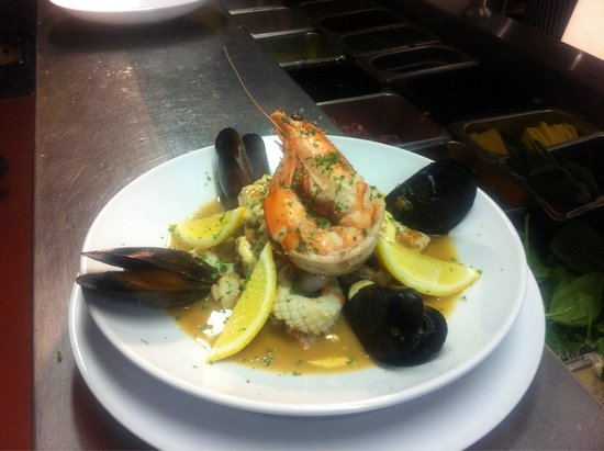 Bojangles': Seafood boullibaise. With whole and tail prawns, squid, snapper, scallops and mussels. Served wi