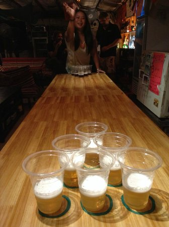 Monkey Jane's Guesthouse: The legendary beer pong table
