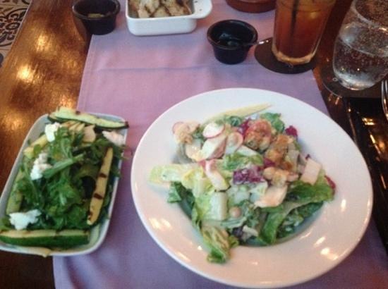 Salt tapas & bar: Roasted Zuchini, Pear, Pine Nut, Rocket and Persian Feta Salad (left) with Chopped Salad (right)