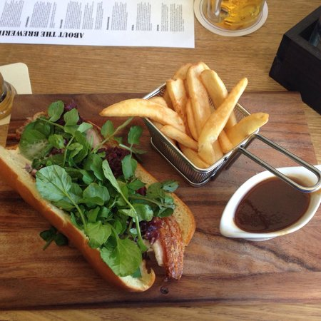 The Bavarian at Manly Wharf: Pork roll.