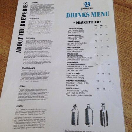 The Bavarian at Manly Wharf: Drinks menu
