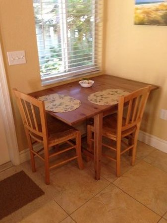 An Island Getaway at Palm Tree Villas: small table/dining area