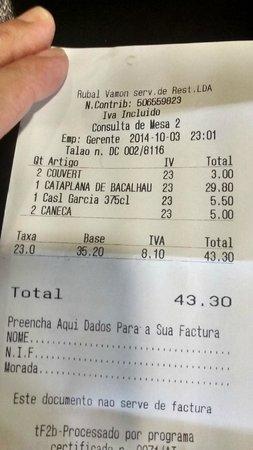 Snack Bar O Manjar: Cuenta