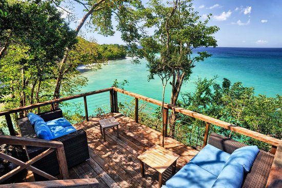 Secret Bay: look down to the aquamarine ocean from our decks