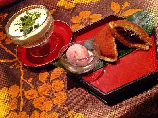 Shiki : Tiramisu au thé vert et gateau japonais à la pâte de haricots rouges