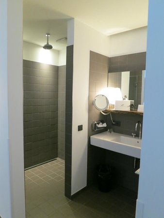 The Weinmeister : Sleek Shower / On the Opposite Side of the Sink is the Toilet Room