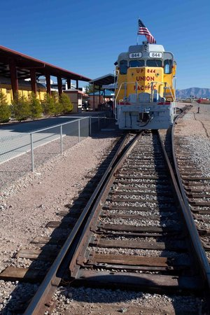 Nevada State Railroad Museum: UP #844 ready to leave the station platform