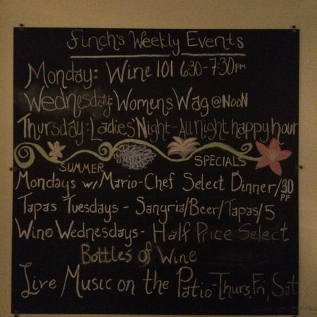 Finchs Bistro & Wine Bar: Specials board in the bar area