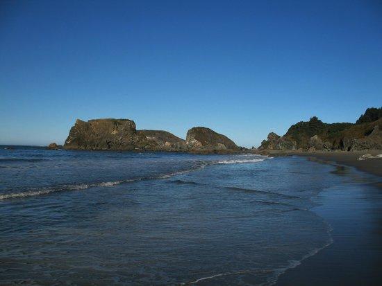 Brookings, Oregón: Looking north along the coastline at Harris State Beach