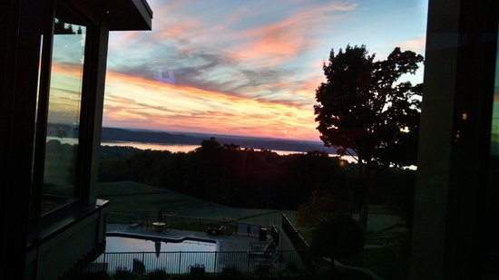Shanty Creek Resorts - Summit Village: Lakeview Restaurant view at sunset