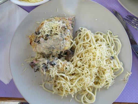 Le Gargantua: Cordon Bleu with Sauce and Side of Pasta