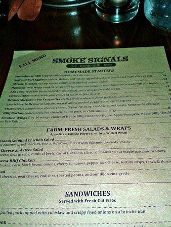 Smoke Signals: Menu