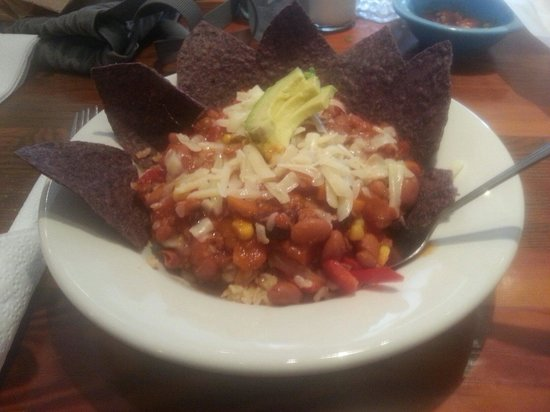 Dahlia's Delights: Chili in a bowl with rice and blue tortilla chips, yummers!