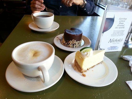 Nichole's Fine Pastry: Latte, americano, chocolaté and lemon cakes