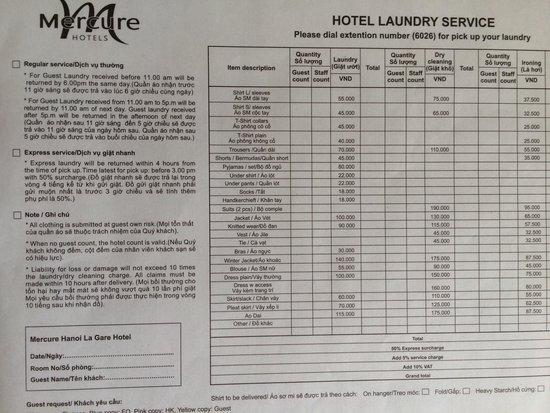 Laundry service - Picture of Mercure Hanoi La Gare Hotel