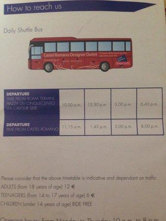 Castel Romano Designer Outlet: Расписание автобуса из Рима
