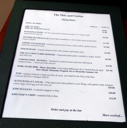 Star and Garter Hotel : Menu