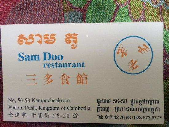 Sam Doo : Address and telephone details