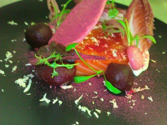 The Royal Oak: smoked salmon, beetroot, chicory, horseradish