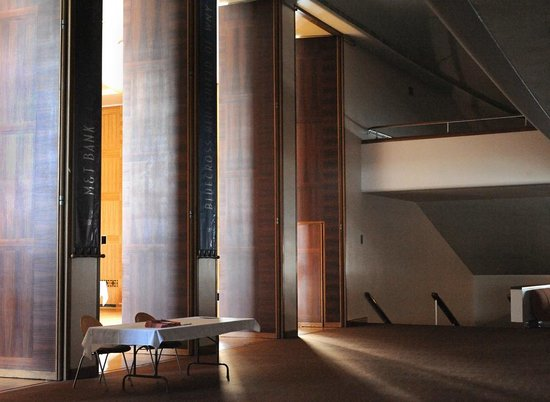 The lobby and stairwell of Kleinhans Music Hall.