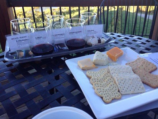 Elk Creek Vineyards: Flight and wine and cheese plate!